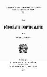 Guyot - La démocratie individualiste - Institut Coppet