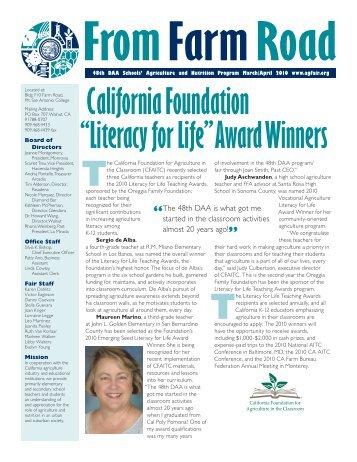 "California Foundation ""Literacy for Life"" Award Winners - Schools ..."