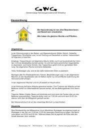 Hausordnung - Gemeinnützige Wohnbaugenossenschaft Winterthur