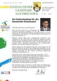 Ein Kulturkatalog für die Gemeinde Elixhausen!