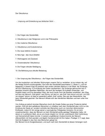 Der Okkultismus - Ursprung und Entwicklung aus biblischer Sicht - 1 ...