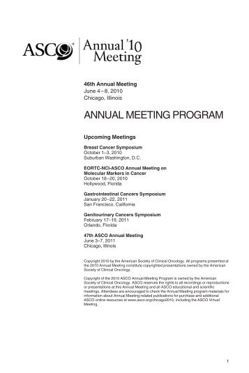annual meeting program - American Society of Clinical Oncology