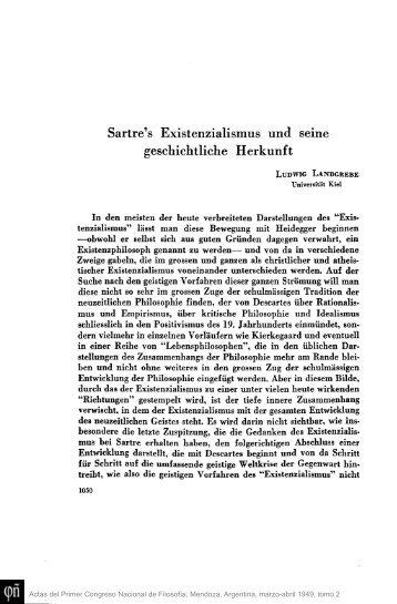 Sartre's Existenzialismus und seine geschichtliche Herkunft