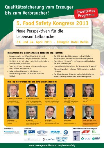 5. Food Safety Kongress 2013 - Management Forum der Verlagsgruppe ...