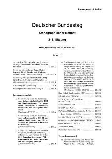 Stenographischer Bericht 218. Sitzung - Deutscher Bundestag