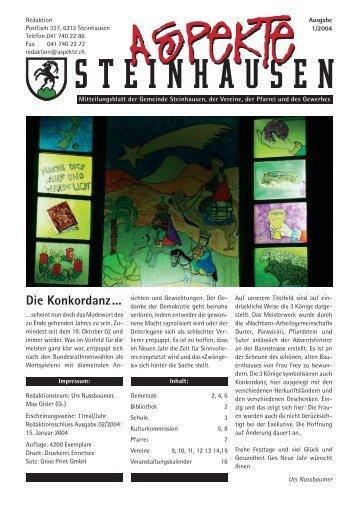 Ausgabe 01/2004 - Aspekte Steinhausen
