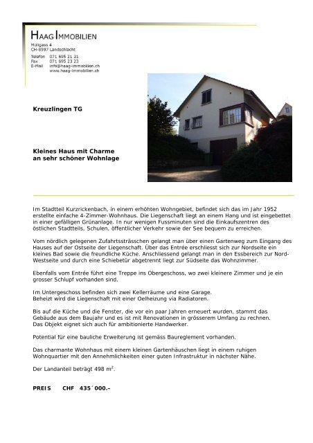 Kreuzlingen TG Kleines Haus mit Charme an ... - Haag Immobilien