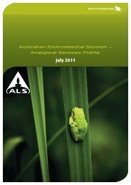 Environmental Capability Statement - Australia - ALS Global