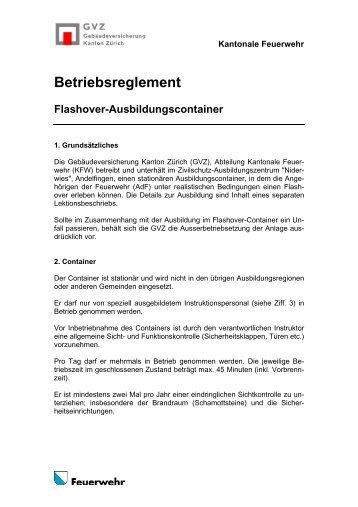 Betriebsreglement Flashover-Ausbildungscontainer - GVZ