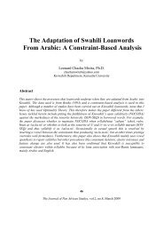 The Adaptation of Swahili Loanwords From Arabic - Journal of Pan ...