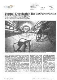 Tunnel Durchstich für die Fernwärme - Energie Wasser Bern