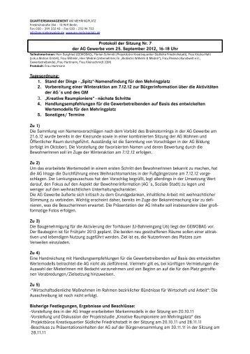 Protokoll der Sitzung Nr. der AG Gewerbe vom 25. September 2012 ...