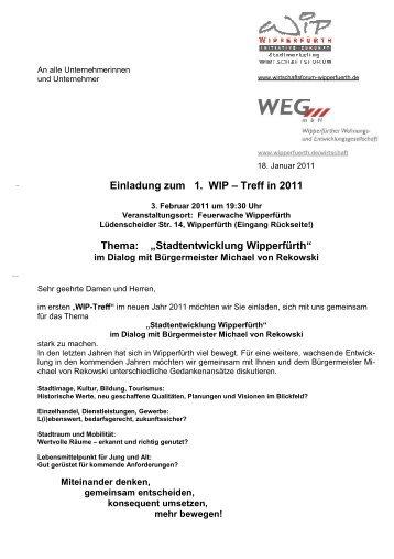 Einladung WIP-Treff Stadtentwicklung Wipperfürth - Stadt Wipperfürth
