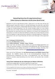Networking-Know-how für junge Businessfrauen - Fachkongress für ...