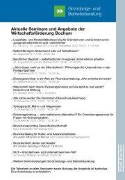 Aktuelle Seminare und Angebote der Wirtschaftsförderung Bochum