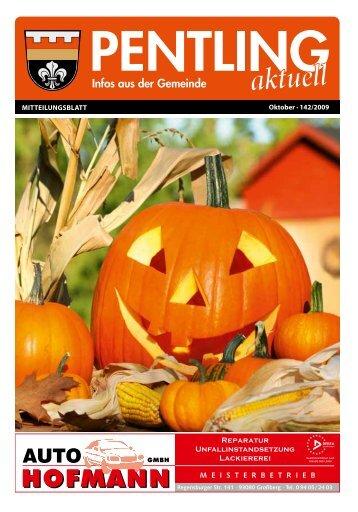 Oktober · 142/2009 Mitteilungsblatt - Pentling aktuell