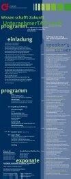 programm UnternehmerTAG2008 einladung speaker's ... - Rundbrief