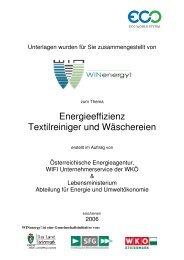 Energieeffizienz Textilreiniger und Wäschereien - WIN - Steiermark