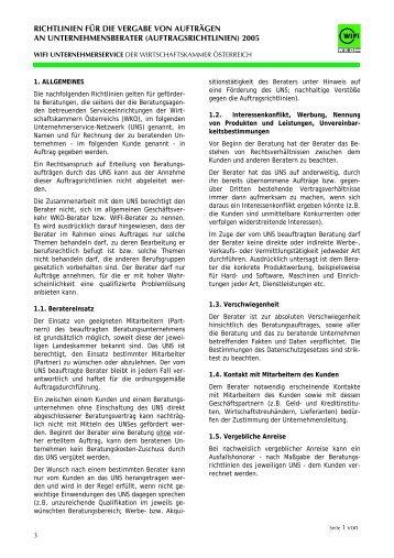 Auftragsrichtlinien für WIFI - Beratungen
