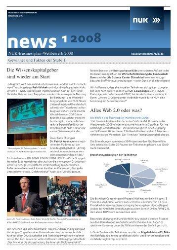news 1 2008 - NUK Neues Unternehmertum Rheinland