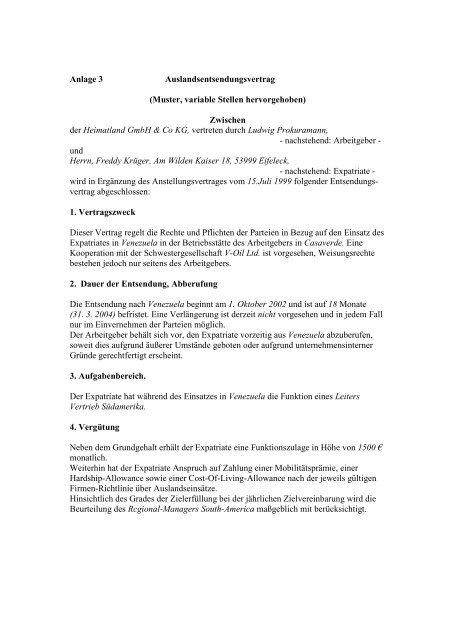 Muster Auslandsentsendungsvertrag