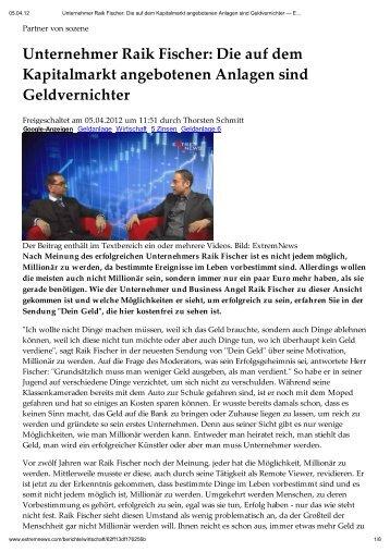 Drucken - Unternehmer Raik Fischer Die auf dem Kapitalmarkt ...