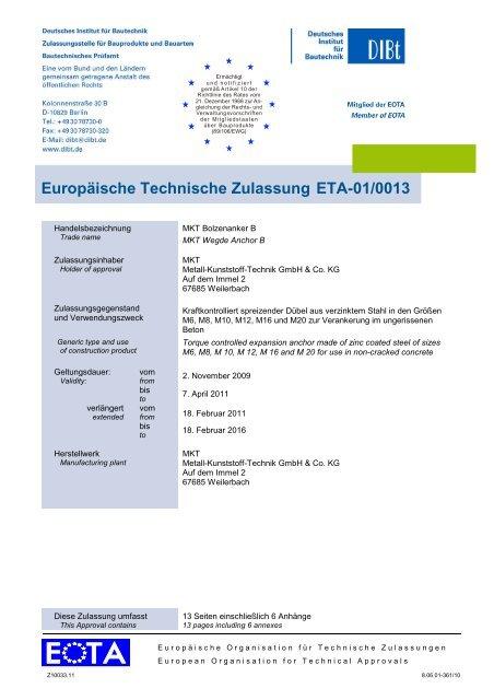 Europäische Technische Zulassung ETA-01/0013 - MKT Metall ...