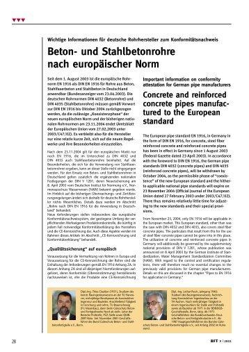 Beton- und Stahlbetonrohre nach europäischer Norm - Bauverlag