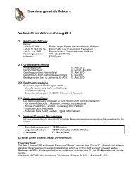 Einwohnergemeinde Habkern Vorbericht zur Jahresrechnung 2010