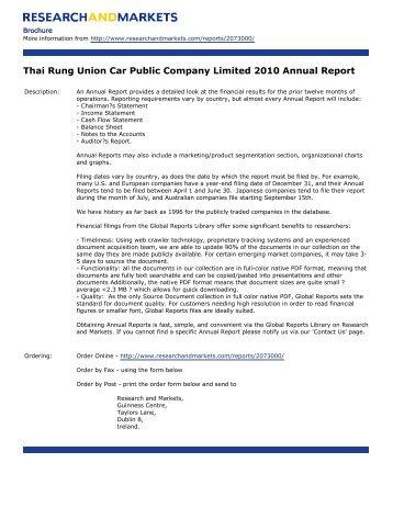 Thai Rung Union Car Public Company Limited 2010 Annual Report