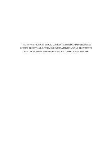 THAI RUNG UNION CAR PUBLIC COMPANY LIMITED AND ...