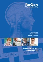 Annual Report and Accounts 2008 - ReGen Therapeutics Limited