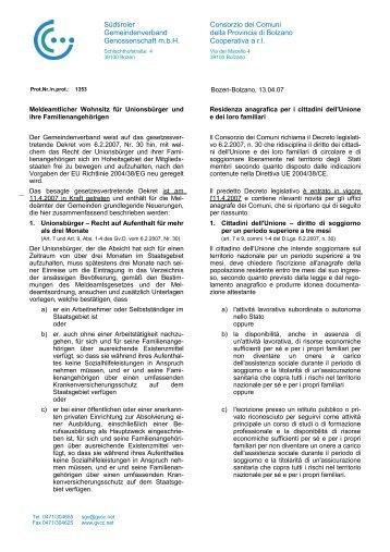 Meldeamtlicher Wohnsitz für Unionsbürger und ihre ...