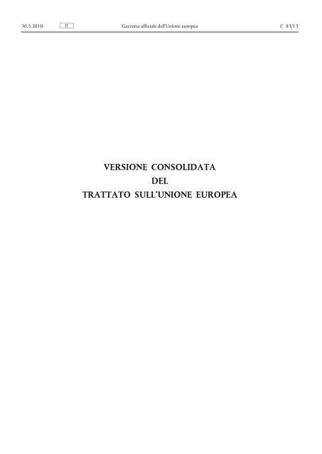 Versione consolidata del trattato sull'Unione europea - EUR-Lex ...