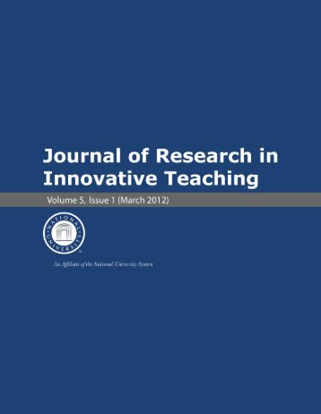Journal of Research in Innovative Teaching Volume 5 - National ...