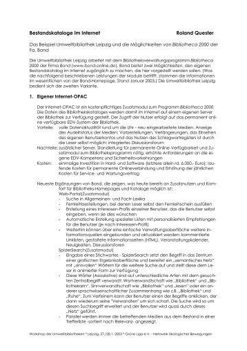 Bestandskataloge im Internet Roland Quester - Umweltbibliotheken ...