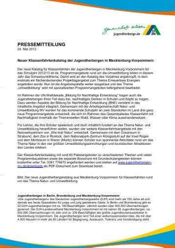 Neuer Klassenfahrtenkatalog der Jugendherbergen in Mecklenburg ...
