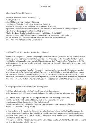 Vita und Fotos der Grußwortsprecher - Norddeutsche Partnerschaft ...