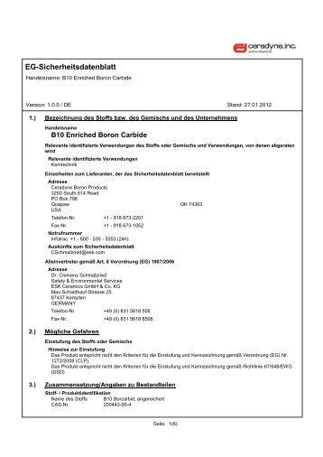 EG-Sicherheitsdatenblatt - Ceradyne Boron Products, LLC