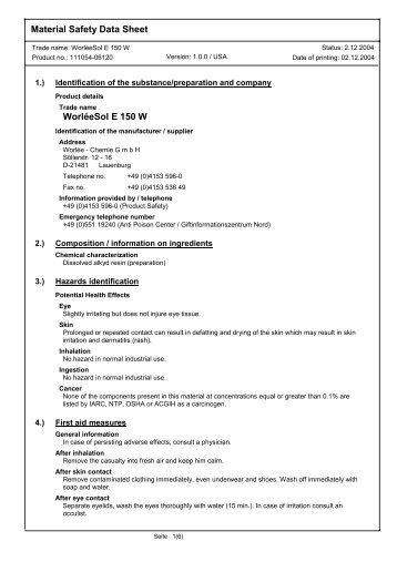 Material Safety Data Sheet WorléeSol E 150 W - Worlée-Chemie