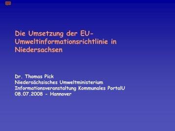 Die Umsetzung der EU-Umweltinformationsrichtlinie in Niedersachsen