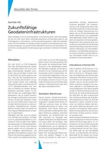 Zukunftsfähige Geodateninfrastrukturen - Geomatik Schweiz