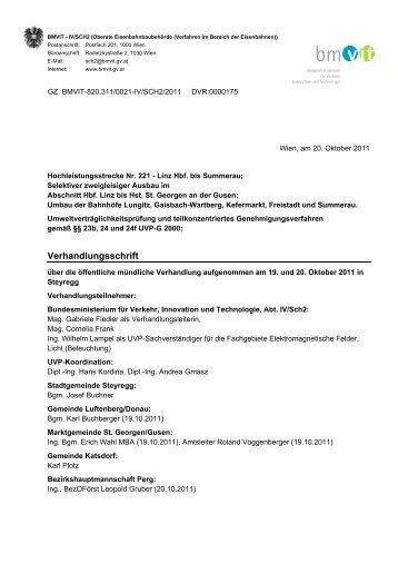 Verfahren Linz Hauptbahnhof bis Summerau: Verhandlungsschrift