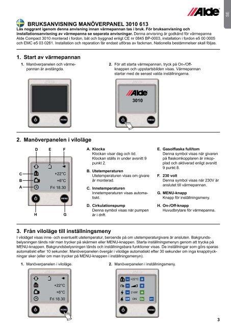 Bruksanvisning & monteringsanvisning – Manöverpanel 3010 613 ...
