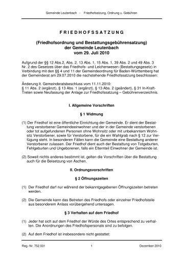 Friedhofsatzung - Leutenbach