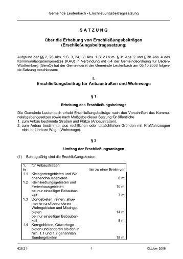 Erschließungsbeitrag - Leutenbach