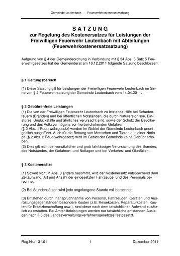 Feuerwehrkostenersatzsatzung - Leutenbach