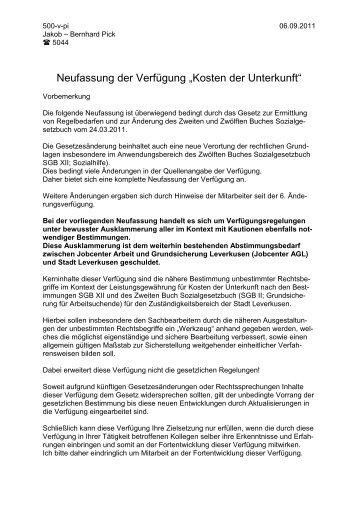 """Neufassung der Verfügung """"Kosten der Unterkunft"""" - Stadt Leverkusen"""