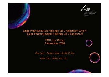 Napp Pharmaceutical Holdings Ltd v ratiopharm GmbH Napp ...