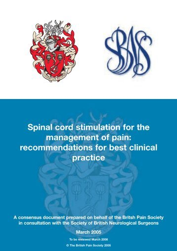 Spinal cord stimulation for the management of pain ... - SBNS